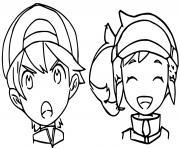 heros garcon et fille pokemon snap dessin à colorier