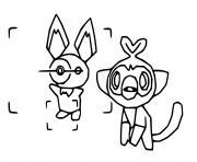 pichu et ouistempo pokemon snap dessin à colorier