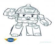 pompier robocar poli pret pour la route dessin à colorier