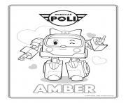 amber robocar poli ambulance rose dessin à colorier