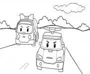 amver et poli voiture dessin à colorier