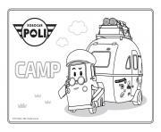 camp robocar poli camping dessin à colorier