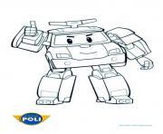robocar poli debout vehicule dessin à colorier