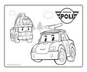 roy et poli vehicules de securites dessin à colorier