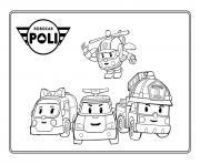 robocar poli ambulance police pompier helicoptere dessin à colorier