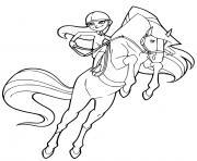 chloe 12 ans monte sur son cheval chili horseland dessin à colorier