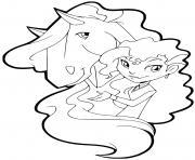 rosa et son cheval panache horseland dessin à colorier
