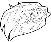 sarah caresse son cheval scarlet horseland dessin à colorier