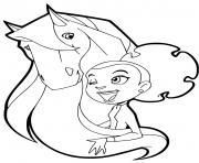 marie et son cheval calypso femelle appaloosa horseland dessin à colorier