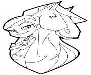 chloe et son cheval chili etalon neerlandais gris dessin à colorier