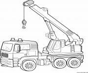 coloriage camion grue construction chantier