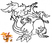 Dracaufeu Gigamax Gigantamax Charizard avec dessin modele couleur dessin à colorier