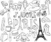 jadore paris france objets dessin à colorier