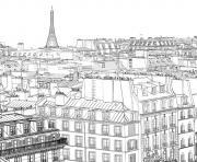 paysage maisons ville de paris dessin à colorier