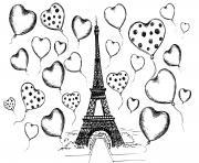 tour eiffel et plein de coeurs dessin à colorier