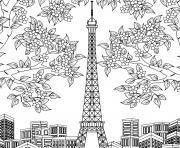 tour eiffel arbres fleurs batiments de paris dessin à colorier