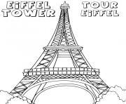 tour eiffel tower dessin à colorier