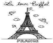 la tour eiffel de paris en france dessin à colorier