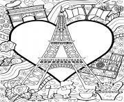 i love paris tour eiffel france dessin à colorier