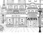 ville de paris magasins de vetement mode dessin à colorier