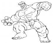 Coloriage avengers marvel hulk en action dessin