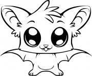 chauve souris kawaii bat adorable dessin à colorier