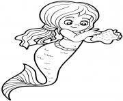 sirene trouve une etoile de mer dessin à colorier