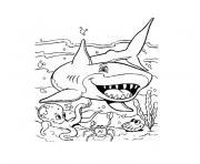 Coloriage requin facile simple animal marin dessin