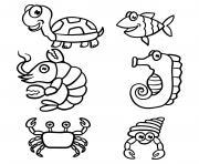 animaux de la mer et marin maternelle dessin à colorier