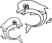 deux dauphins bebe dessin à colorier