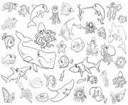 tous les animaux de la mer et marin dessin à colorier