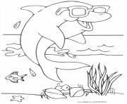 dauphin cool avec lunette dessin à colorier