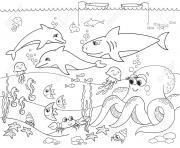 fond marin avec les animaux de la mer dessin à colorier
