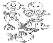 poissons animaux de la mer dessin à colorier