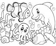 la vie sous marine ocean dessin à colorier