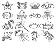 les petits animaux marins pour enfants kawaii dessin à colorier