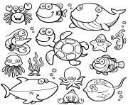 animaux marin mignon dessin à colorier