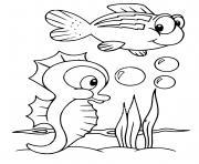 hippocampe et poisson sous la mer dessin à colorier