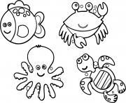 animaux aquatique poisson crabe tortue pieuvre dessin à colorier