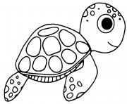 Coloriage tortue de profil dessin