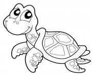 Coloriage tortue avec une carapace ronde dessin