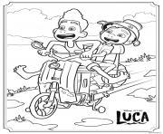 alberto et luca sur une moto en pleine vitesse dessin à colorier