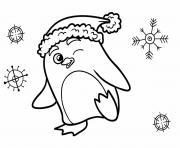 pingouin noel et flocon de neige dessin à colorier