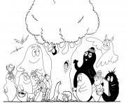 Coloriage barbapapa celebrent un anniversaire une fete en famille dessin