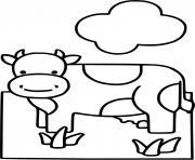 vache dans la ferme avec un nuage dessin à colorier