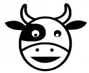 tete de vache facile dessin à colorier
