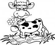 vache rigolote avec une fleur et une cloche dessin à colorier