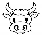 tete de taureau souriant dessin à colorier