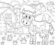 vache animal de la ferme dessin à colorier