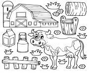 vache lait ferme herbes plantes dessin à colorier